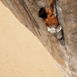 Korean climber Sangwon Son on Greed 8c, Tonsai beach, Thailand.