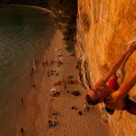 Caillaud Thierry on Jai Dum 8b on Tonsai beach, Thailand.